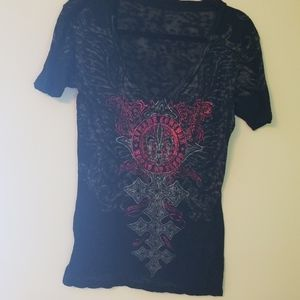 Xtreme Couture Black W/ Red Foil Tee Sz L